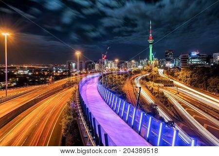 Auckland City Night Skyline, New Zealand