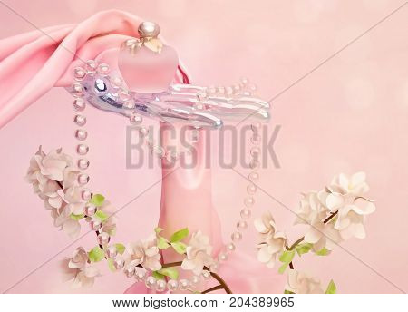 Perfume a branch of Apple blossoms beads and pink silk scarf is located on a pink background. 3D illustration