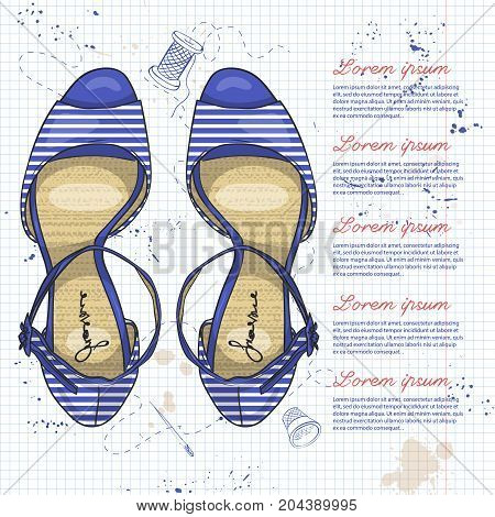 Vector color womens striped sandals with stiletto heel on a notebook page