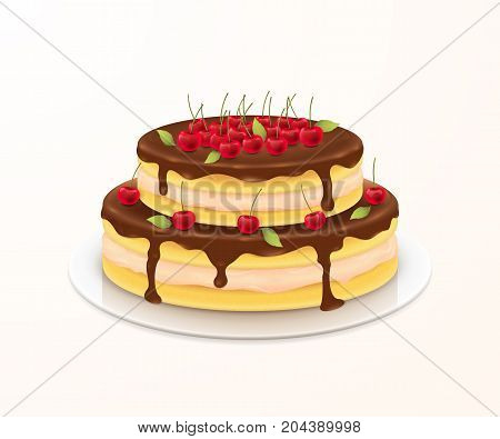 Vector sweet cake with cherries for festive birthday card design. A delicious cream dessert with chocolate glaze on the plate. Isolated from the background.
