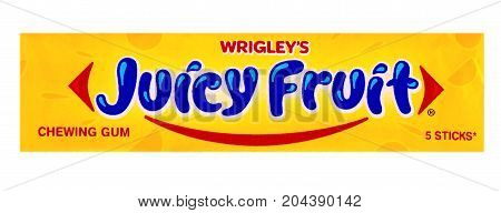Chisinau Moldova - SEPTENBER 15 2017: Wrigley's Juicy Fruit chewing gum 5 sticks isolated on white background with clipping path. Juicy Fruit chewing gum are produced by Wrigley Company