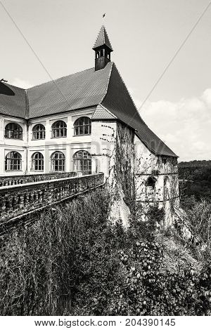 Close up photo of Veveri castle Czech republic. Ancient architecture. Travel destination. Black and white photo.