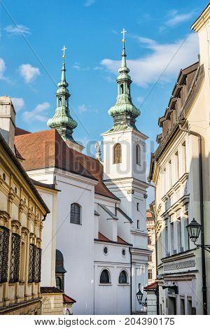 St. Michael church in Brno Moravia Czech republic. Religious architecture. Vertical composition.