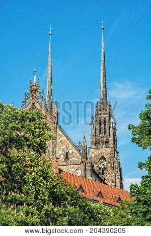 Famous Cathedral of St. Peter and Paul in Brno Moravia Czech republic. Religious architecture. Two big towers.