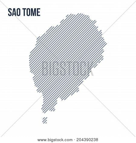 Vector Abstract Hatched Map Of Sao Tome With Oblique Lines Isolated On A White Background.