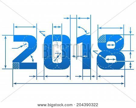 New Year 2018 number with dimension lines. Element of blueprint drawing in shape of 2018 year