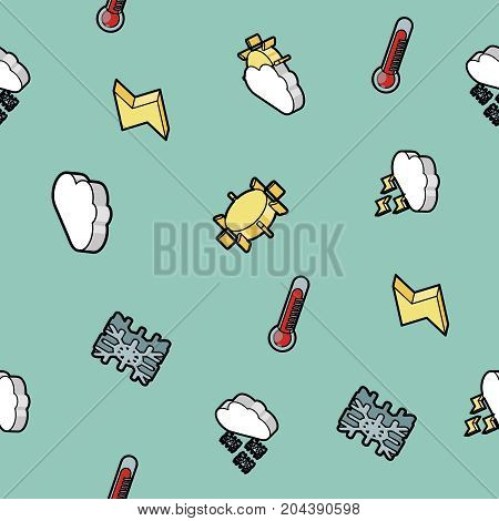 Weather color outline isometric pattern - symbol collection. Vector illustration, EPS 10