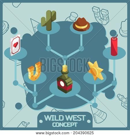 Wild west color isometric concept icons. American Frontier. Vector illustration, EPS 10
