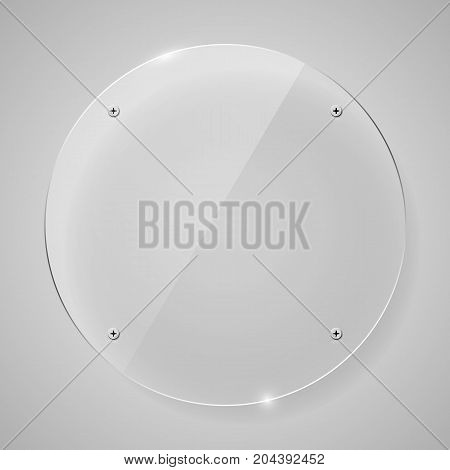 Empty transparent glass framework in form of circle. Clean vector background
