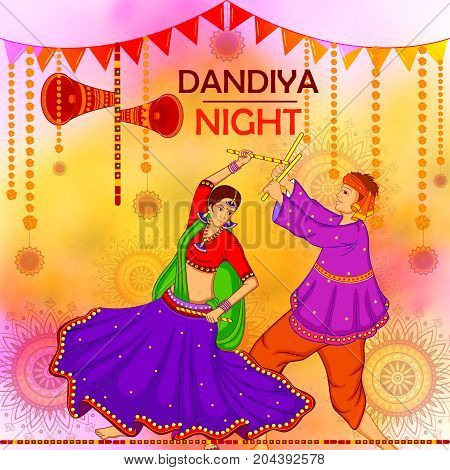 vector illustration of people performing Garba dance on poster banner design for Dandiya Night