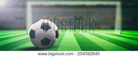 Soccer Ball On An Illumunated Field Grass Background. 3D Illustration
