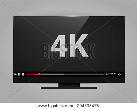 4k tv screen with video player. Digital wide television concept. Vector illustration
