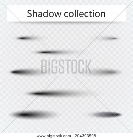 Set of transparent oval shadow with soft edges isolated. Vector illustration