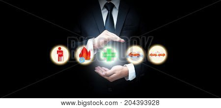 Family life insurance car insurance Businessman with protective gesture. insurance concept.