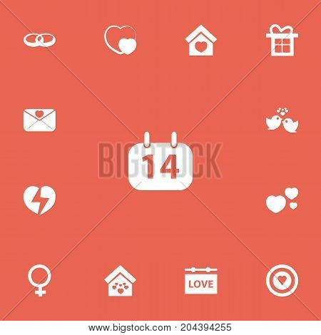 Set Of 13 Editable Love Icons. Includes Symbols Such As Shape, Domicile, Wedding And More