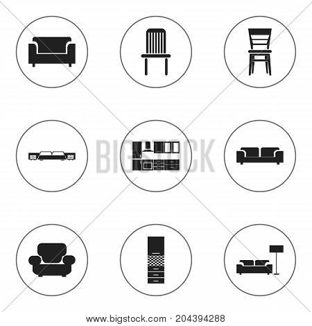 Set Of 9 Editable Interior Icons. Includes Symbols Such As Cooking Furnishings, Sofa, Lamp And More