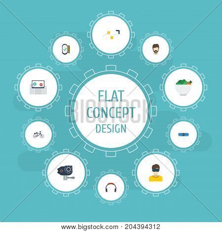 Flat Icons Technology, Hipster, Earphone And Other Vector Elements