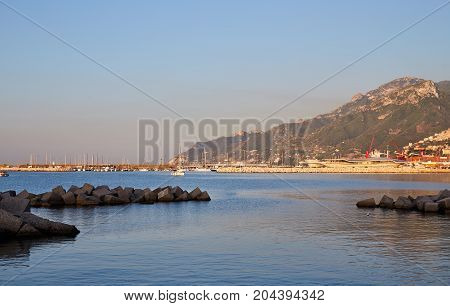 View of the Amalfi Coast in Salerno city in the early morning
