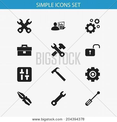 Set Of 12 Editable Service Icons. Includes Symbols Such As Screwdriver, Spanner, Computer Statistics And More