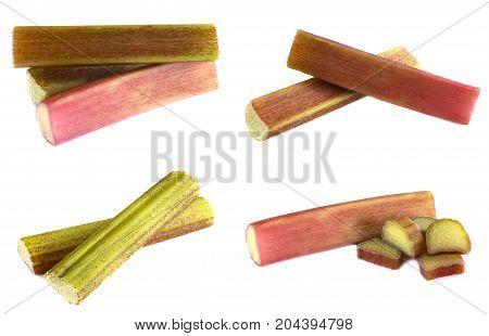 Fresh rhubarb isolated on white underground, tasty, natural