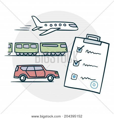 Delivery by air train or car icon. Sketch vector illustration EPS8