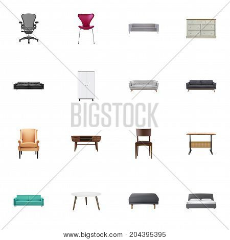 Realistic Console, Seating, Wardrobe And Other Vector Elements