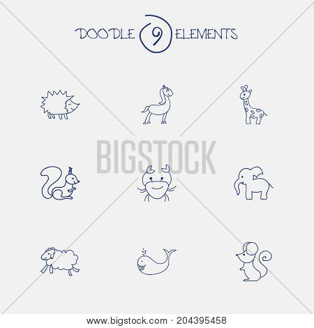Set Of 9 Editable Zoology Doodles. Includes Symbols Such As Chipmunk, Ewe, Urchin And More