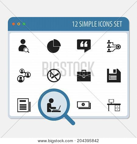 Set Of 12 Editable Office Icons. Includes Symbols Such As Floppy, Comment, Dollar And More