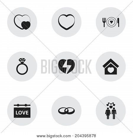 Set Of 9 Editable Heart Icons. Includes Symbols Such As Beau, Banner, Trappings And More
