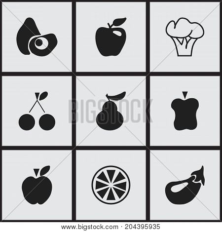 Set Of 9 Editable Fruits Icons. Includes Symbols Such As Tree, Honeycrisp, Papaya And More