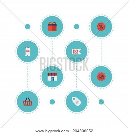 Flat Icons Bag, Percentage, Buy Now And Other Vector Elements