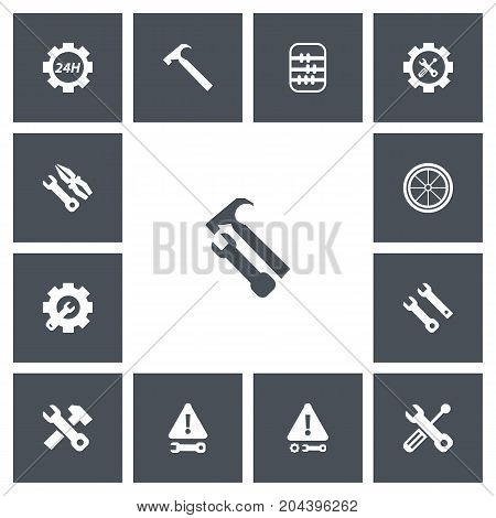 Set Of 13 Editable Toolkit Icons. Includes Symbols Such As Handle Hit, Arithmetic, Wrench Hammer