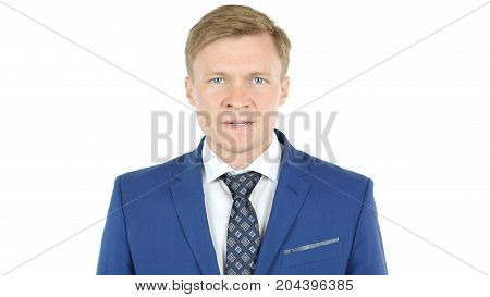 Bad-tempered Angry Caucasian Business Man Isolated On White Background