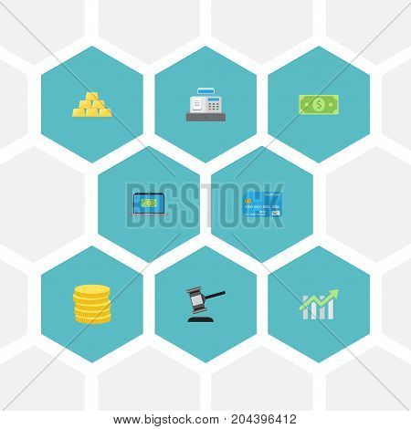 Flat Icons Verdict, Ingot, Computer And Other Vector Elements