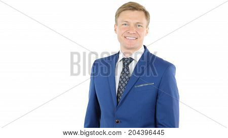 Friendly And Smiling Businessman Looking At Camera With Reliability