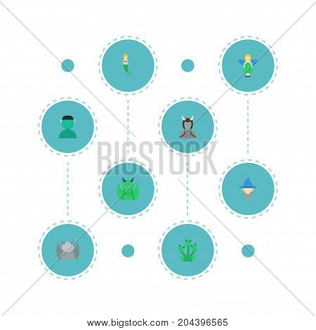Flat Icons Character, Snake, Flying And Other Vector Elements