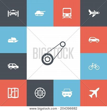 Set Of 13 Editable Transport Icons. Includes Symbols Such As Automobile, City Drive, Wheel And More