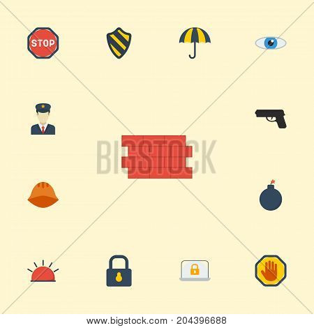 Flat Icons Lock, Padlock, Road Sign And Other Vector Elements
