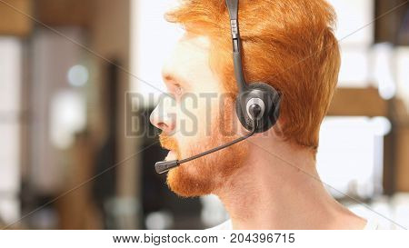 Portrait Man With Headset , Call Center In Office At Work