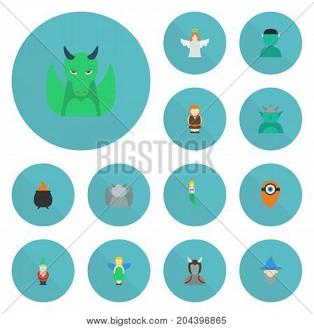 Flat Icons Avatar, Dinosaur, Huge Man And Other Vector Elements