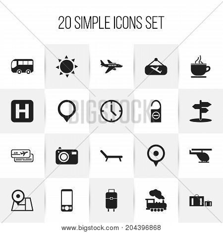 Set Of 20 Editable Trip Icons. Includes Symbols Such As Sunbathing, Navigation, Breakfast And More