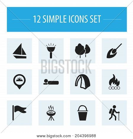 Set Of 12 Editable Travel Icons. Includes Symbols Such As Bedroll, Blaze, Pennant And More