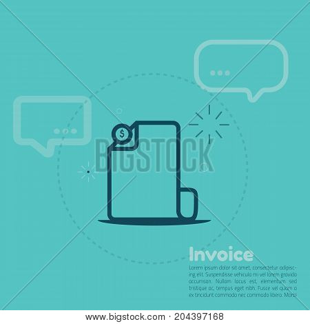 Invoice icon in line art style with abstract shapes for motion design or illustration, finance payment document, bill