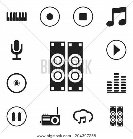Set Of 12 Editable Song Icons. Includes Symbols Such As Music, Mike, Sky Note And More