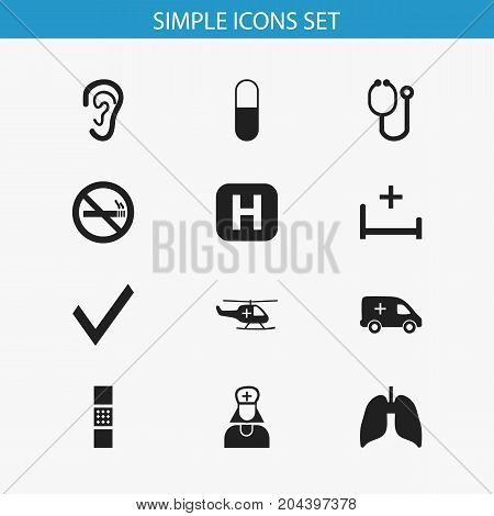 Set Of 12 Editable Hospital Icons. Includes Symbols Such As Clinic, Medical Aviation, Drug And More
