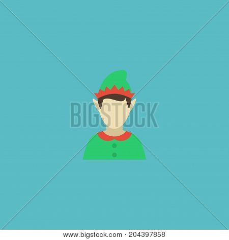 Flat Icon Gnome Element. Vector Illustration Of Flat Icon Elf Isolated On Clean Background