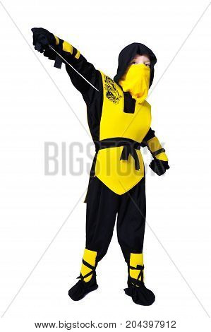 The Seven-years Old Boy In Black And Yellow Ninja Suit With A Hood And Mask On His Face Bowed His He