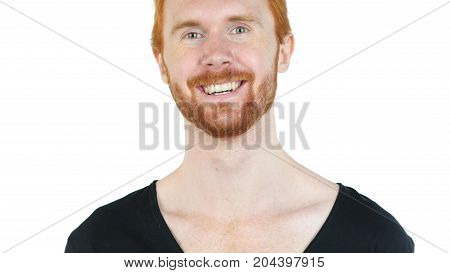 Happy Red Hair Man Smiling At Camera , White Background