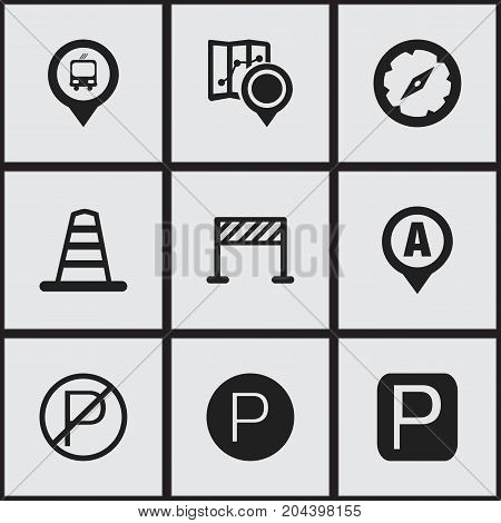 Set Of 9 Editable Navigation Icons. Includes Symbols Such As Gps, Street Construction, Road Sign And More
