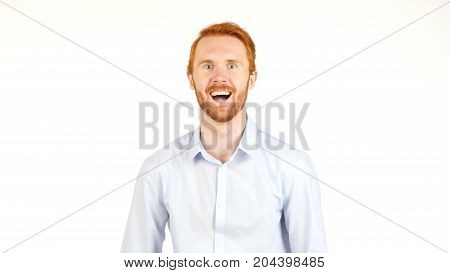 Portrait Of Smiling Red Hair Businessman, White Background
